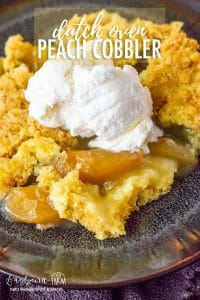 Dutch oven peach cobbler is so easy to make and a total crowd pleaser! Only three ingredients and you can make it in a dutch oven or regular oven! #dutchoven #castironcooking #dutchovenrecipes #dutchovencooking #peachcobbler #dutchovencobbler #dutchovenpeachcobbler #peachcobblerrecipe #dutchovencobblerrecipe #cobblerrecipe