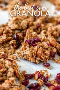 This easy granola recipe is a family favorite!! Crunchy, sweet, and a little spicy, it's the perfect breakfast. You'll get asked for the recipe every time! #homemadegranola #homemadegranolaeasy #homemadegranolahealthy #homemadegranolacrunchy #homemadegranolacoconut #homemadegranolahoney #homemadegranolabest