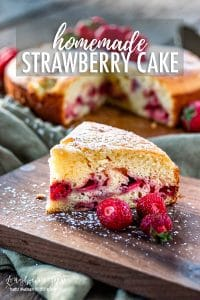 Homemade strawberry cake is easy to make and a showstopper at any party. You'll get asked for this simple recipe over and over! #cake #strawberrycake #homemadecake #homemadestrawberrycake #strawberrycakerecipe #homemadecakerecipe #howtomakecake #howtomakestrawberrycake #bakingday #howtobakecake #easycakerecipe #simplecakerecipe #onelayercake