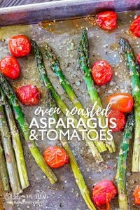 Oven roasted asparagus and tomatoes is a simple but flavorful side dish to throw together! Great flavor and texture throughout the whole dish. #asparagus #ovenroastedveggies #ovenroastedasparagus #asparagusandtomatoes #ovenroastedtomatoes #asparagusandcheese #asparagusrecipe #ovenroastedasparagusrecipe #roastedasparagusrecipe
