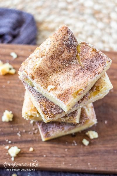 Top view of stacked and sliced snickerdoodle bars.