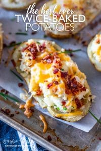 The best twice baked potatoes are creamy, cheesy, and packed with flavor!! Get the secret ingredient in this recipe that makes it amazing! #twicebakedpotatoes #twicebakedpotatoeseasy #twicebakedpotatoesthebest #twicebakedpotatoesmakeahead #twicebakedpotatoescreamcheese #twicebakedpotatoescreamy #twicebakedpotatoesloaded #twicebakedpotatoesrecipe #twicebakedpotatoescheesy