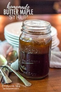 Butter maple syrup is an easy homemade way to make your pancakes extra special! The buttery maple flavor is the perfect combination for any morning! #homemadesyrup #easysyrup #syruprecipe #buttermilksyrup #buttersyrup #pancakesyrup #maplesyrup #homemademaplesyrup