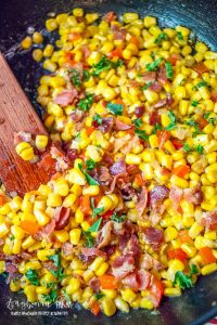Canned corn recipes in a pan.