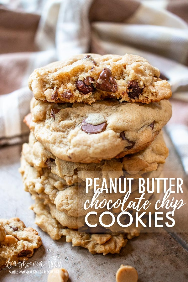 Packed with peanut butter and chocolate flavor, these easy peanut butter chocolate chip cookies are always a hit with the whole family! #cookies #baking #peanutbutter #peanutbutterandchocolate #chocolatechipcookies #peanutbutterchocolatechipcookies #peanutbutterchocolatechip #peanutbuttercookies #chocolatecookies #bakingcookies #bakingrecipe via @longbournfarm