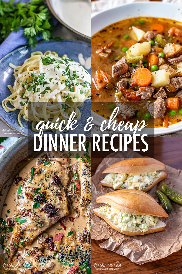 Quick and Cheap Dinners are a must-have for any family during the busy school year! These dinners are ones the whole family will love them! #quickdinner #easymeals #cheaprecipes #cheapdinners #cheapmeals #quickrecipes #easyrecipes #easydinners #budgetrecipes #budgetmeals #budgetdinners via @longbournfarm