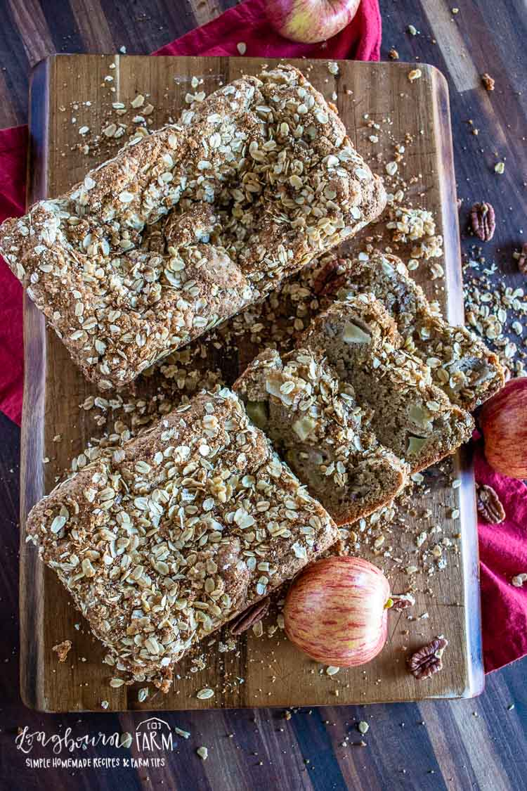Loaves of easy homemade apple bread recipe on a cutting board.