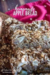 Homemade apple bread is the perfect fall dessert and so easy to whip together. With just a few simple ingredients you can have fresh apple bread! #applebread #homeamdeapplebread #easyapplebread #applebreadrecipe #apples #bread #quickbread #quickapplebread #bestapplebread #quickbreadloaf #holidaybaking #holidaybreadrecipe #holidayrecipe