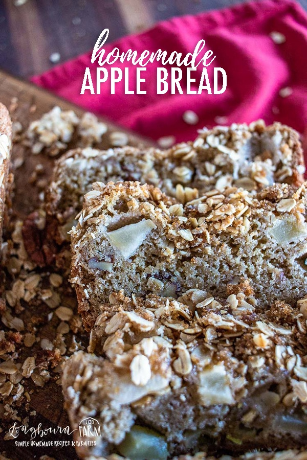 Homemade apple bread is the perfect fall dessert and so easy to whip together. With just a few simple ingredients you can have fresh apple bread! #applebread #homeamdeapplebread #easyapplebread #applebreadrecipe #apples #bread #quickbread #quickapplebread #bestapplebread #quickbreadloaf #holidaybaking #holidaybreadrecipe #holidayrecipe via @longbournfarm