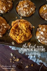 close up crumb shot of the best ever pumpkin muffins in the pan