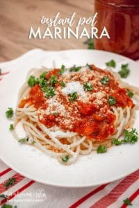 Instant Pot Marinara garnished with cheese and parsley