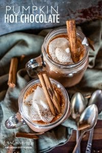 Pumpkin hot chocolate is so easy to make from scratch and the perfect warm drink on a cold day. Try out this easy recipe today!! #pumpkinrecipe #pumpkinspice #pumpkinhotchocolate #hotchocolate #easyhotchocolate #homemadehotchocolate #homemadecocoa #hotchocolatemix #pumpkincocoa #pumpkinchocolate