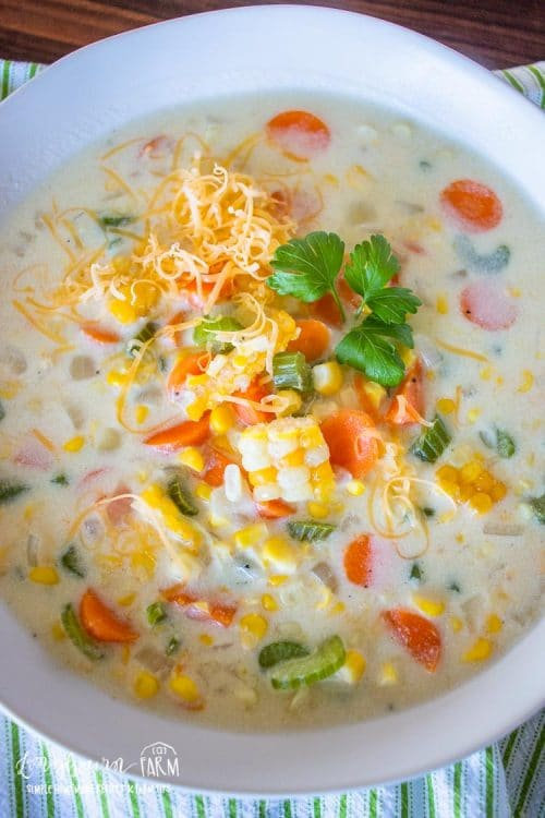 Easy corn chowder soup in a white bowl.
