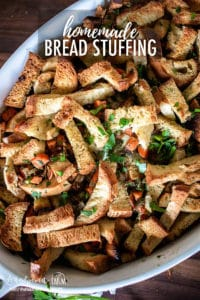 Homemade Bread Stuffing is an easy side dish to make if you don't want to stuff a turkey! A few ingredients combine to make it flavorful and not too soggy! #stuffing #thanksgiving #thanksgivingrecipes #thanksgivingrecipe #stuffing #stuffingrecipe #stuffinghomemade #stuffingeasy #stuffingthebest #stuffingturkey #stuffingchicken #stuffingclassic #stuffingtraditional