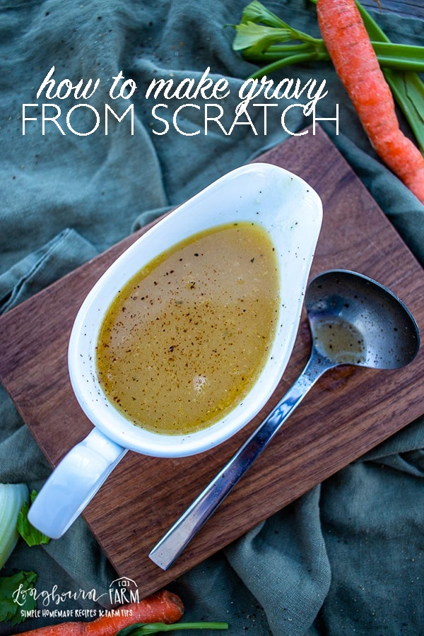 Learning how to make gravy from scratch is easy! Serve it with a holiday feast or at a casual weeknight dinner. It's packed with flavor and delicious! #gravy #thanksgiving #christmas #thanksgivingdinner #thanksgivingrecipe #thanksgivingmeal #christmasdinner #christmasevedinner #christmaseve #homemadegravy #easyhomemadegravy #gravyfromscratch #veggiegravy via @longbournfarm