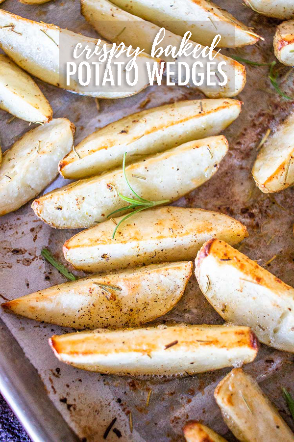 Crispy Potato Wedges are a great side dish for any meal. Fancy enough for the holidays and easy enough for every day. Packed with flavor and delicious! #potatowedges #potatowedgesbaked #potatowedgescrispy #potatowedgeseasy #potatowedgesrecipe #potatowedgeshomemade #potatowedgesinoven #potatowedgeshowtocook via @longbournfarm