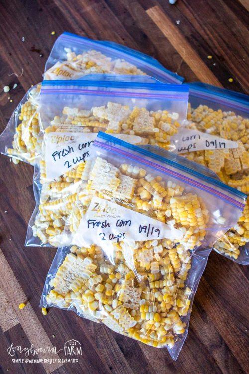 bags of corn cut off of the cob