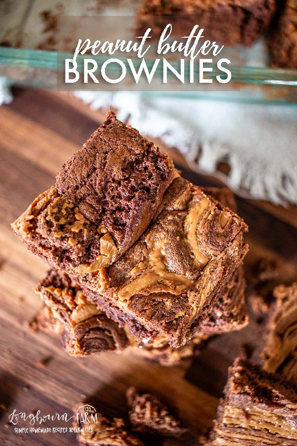 Peanut butter brownies are a delicious treat! Easy to make from scratch with a fudgy center and crackle on top. These get rave reviews!! #brownies #peanutbutter #peanutbutterbrownies #brownierecipe #browniesfromscratch #howtomakebrownies #homemadebrownies