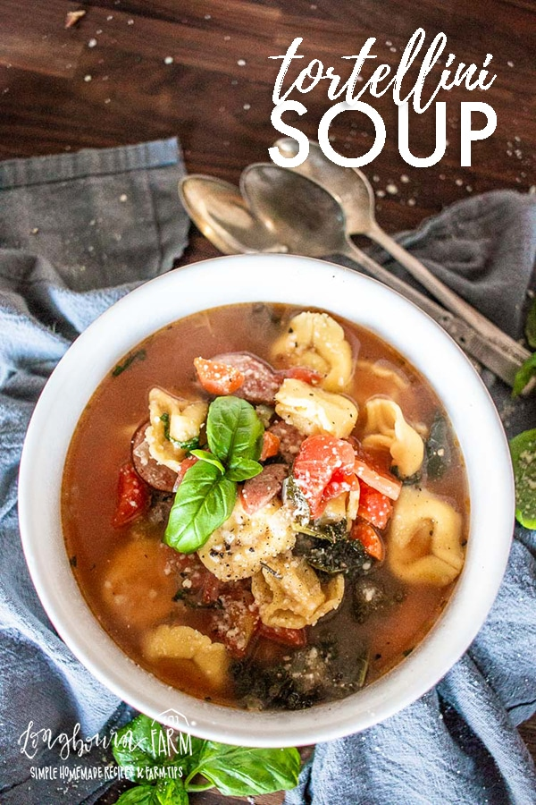 Tortellini soup is that easy, quick and filling dinner dish you wish you found earlier. Packed with fresh veggies, sausage and tortellini in every bite. #soup #tortellini #tortellinisoup #pastasoup #souprecipe #howtomakesoup #easysoup #tortellinisouprecipe via @longbournfarm