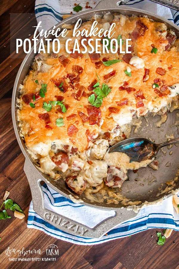 Twice baked potato casserole is all the goodness of a twice baked potato in an easy to eat and easy to assemble form! #ad #grizzlycookware #getGRIZZLY #castironreimagined #adventuresincooking #ad #twicebakedpotatocasserole #twicebakedpotatoes #casserole #castironcooking #castironrecipe via @longbournfarm