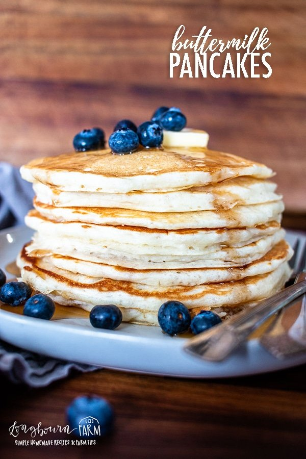 Fluffy buttermilk pancakes are easy to make with the right ingredients. Look no further for the perfect recipe - it's the best ever! #buttermilkpancakes #pancakes #easybuttermilkpancakes #buttermilkpancakesfromscratch #bestbuttermilkpancakes #bestpancakes #pancakesfromscratch #pancakerecipe #bestpancakerecipe