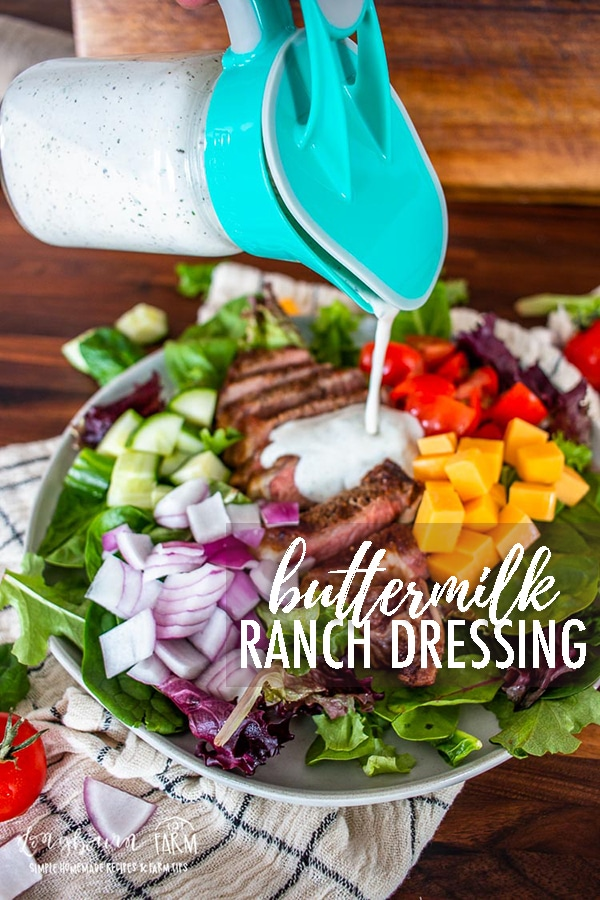 Homemade buttermilk ranch dressing is easy to make and delicious for any salad or dip! Whip up a batch to save for later or eat it right away. #buttermilk #ranchdressing #buttermilkranch #howtomakeranch #ranchdip #homemaderanch #buttermilksaladdressing #buttermilkdressing