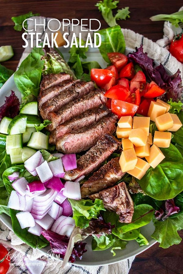 Chopped steak salad is a filling, healthy and delicious recipe to throw together! Use fresh or leftover steak for an easy-to-make and quick meal. #salad #steaksalad #choppedsteaksalad #choppedsalad #steaksaladrecipe #steaks #beefitswhatsfordinner #beef #beefrecipe #saladrecipe #easysaladrecipe via @longbournfarm