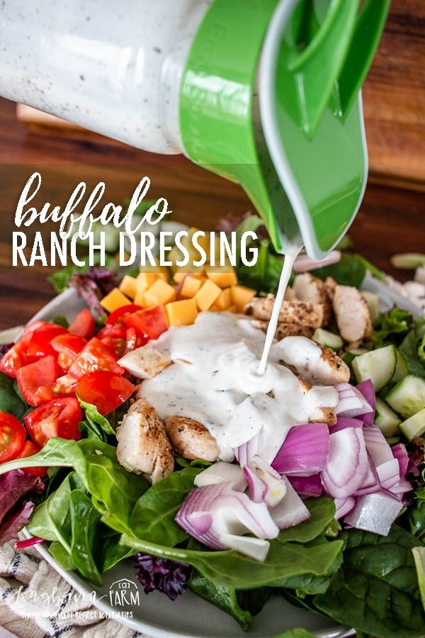 Buffalo ranch dressing is creamy and delicious with a hint of spice! It's easy to make and great on any salad. We love it on chicken salad!