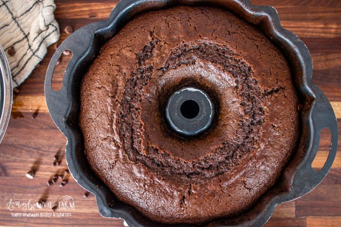 a freshly baked chocolate bndt cake in a pan