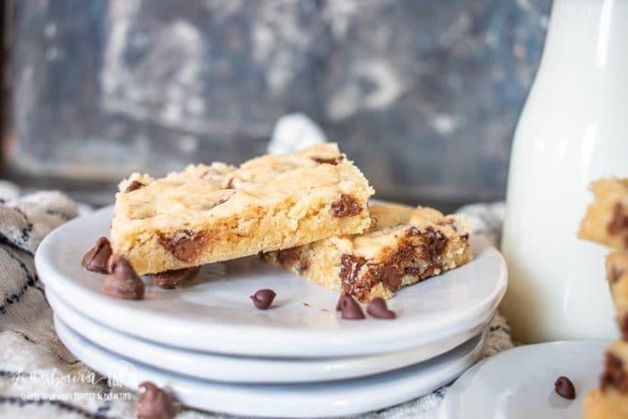 a side view of the gooey chocolate chip cookie bars