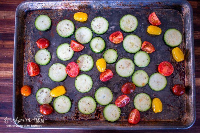 oven roasting the fresh vegetables