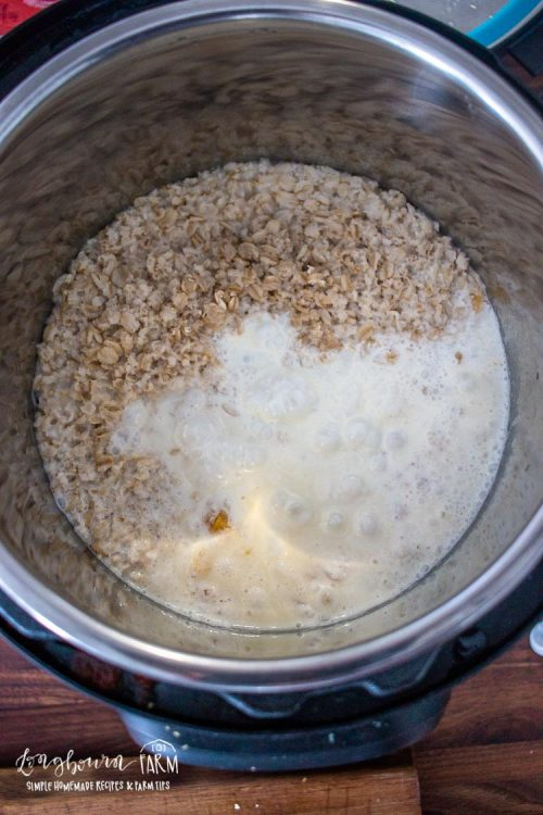 peaches and cream ingredients inside of an instant pot bowl