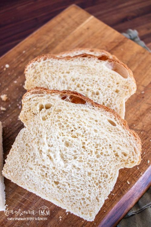 crumb shot of aslices of potato bread on a cutting board