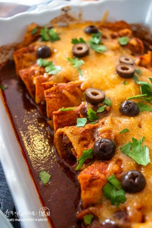 an upclose side view of cooked beef enchiladas with cheese and garnished with olive slices