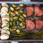 easter sheet pan dinner baked ham asparagus brussel sprouts potato slices
