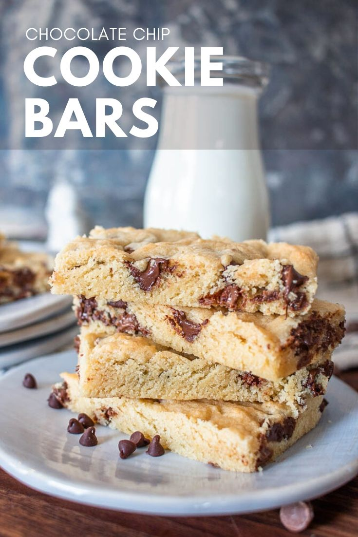 Chocolate chip cookie bars are an easy way to get that great chocolate chip cookie taste in and easier to make form! Whip them up in no time at all.