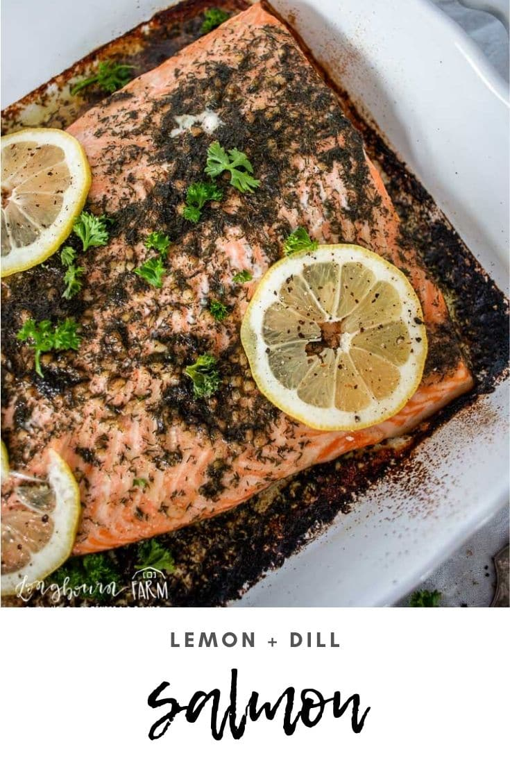 Lemon dill salmon is a deliciously simple but flavorful dinner. Easy preparation and a quick bake time means that a delicious dinner is ready to go quickly!