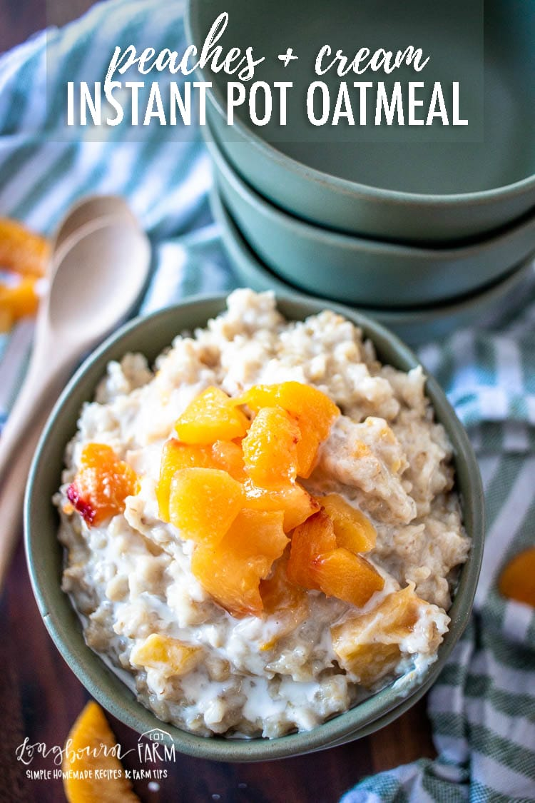Peaches and cream oatmeal is easy to make in the Instant Pot or Pressure Cooker! Filling, fruity, and ready for eating when you are.
