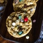 monster cookies up close with chocolate chips