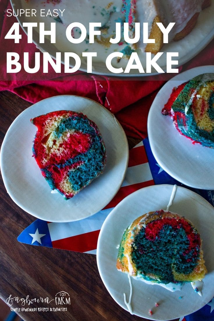 Easy and adorable 4th of July Bundt Cake for your holiday party! If you have a cake mix and food coloring, this cake can be on your table in no time.