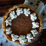 chocoalte pie with whipped cream boarder