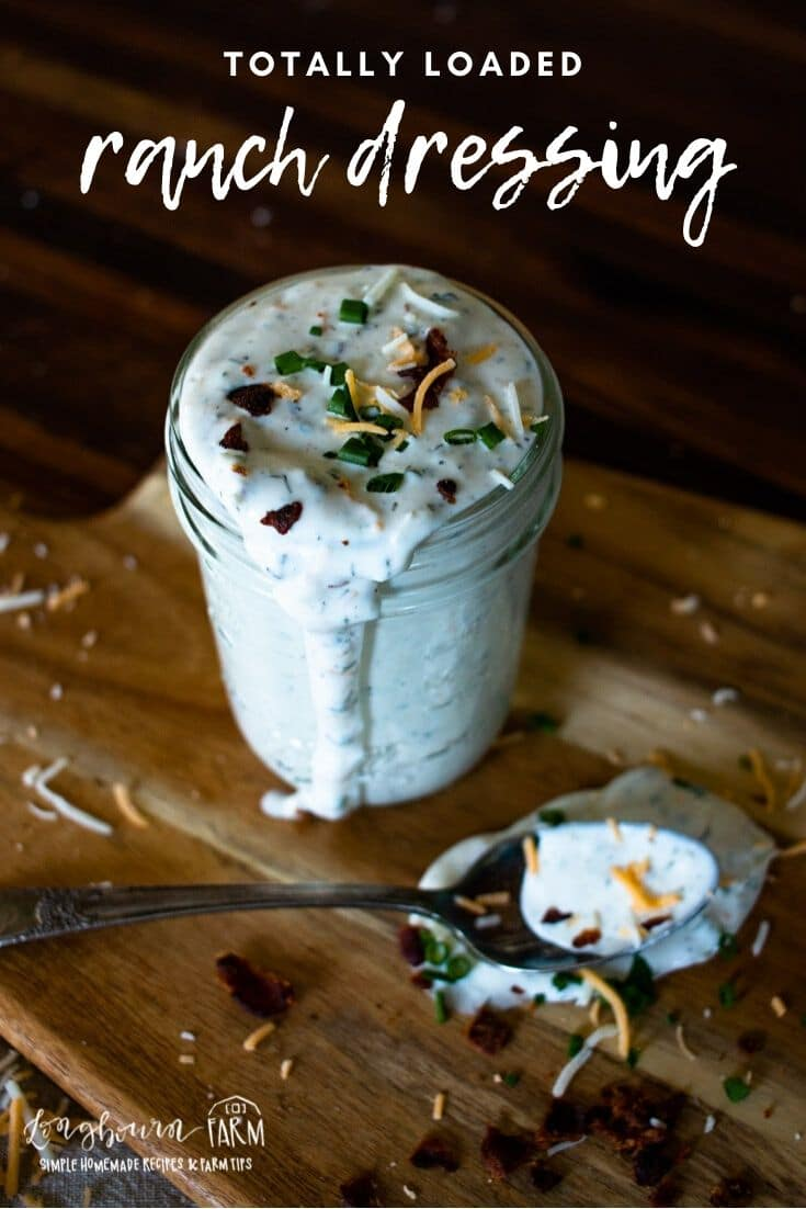Loaded ranch dressing is a fantastic way to amp up any salad! Filled with bacon, cheese, and herbs, it will be a delicious addition.