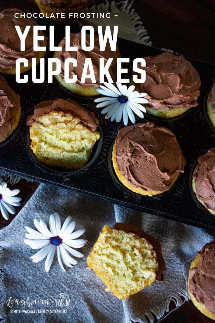 Yellow cupcakes are super easy to make at home and taste amazing with homemade chocolate frosting! Soft, moist, and perfectly sweet.