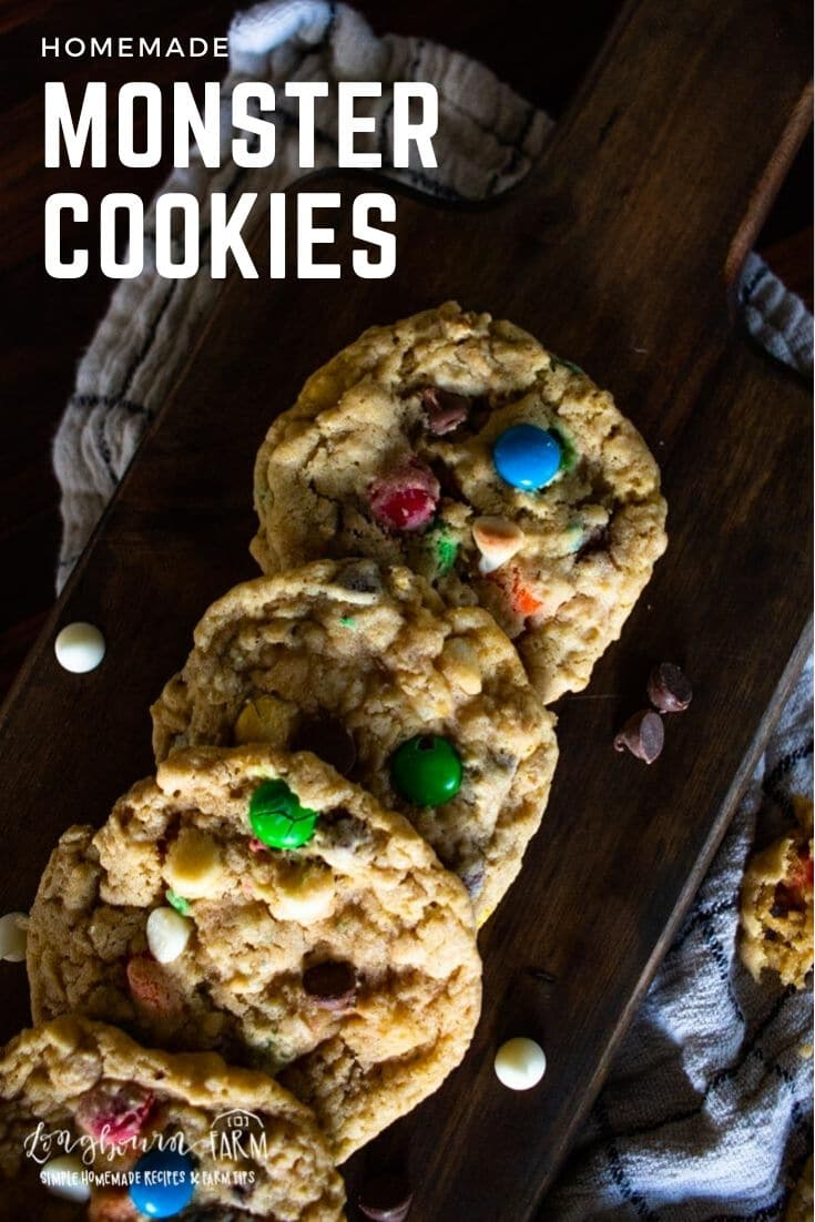 Monster cookies are made with a classic, chewy, base and packed with delicious add-ins that will make your tastebuds pop!!