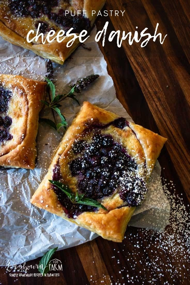 A puff pastry danish is a delicious and simple treat that's perfect for breakfast or dessert. Soft and flaky, topped with blueberries.