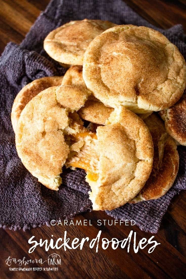Caramel snickerdoodles are a delicious fall twist on an old classic recipe. Soft cookie with soft caramel on the inside.
