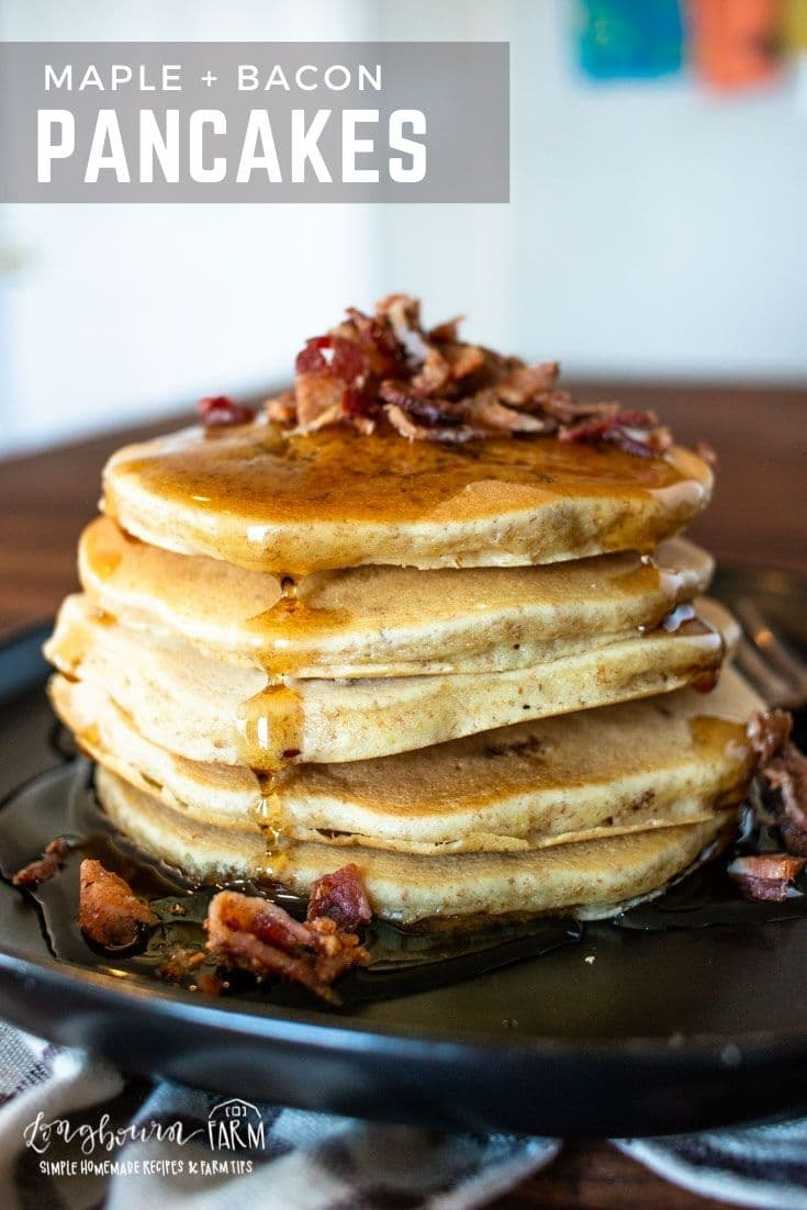 Maple bacon pancakes are delicious! With bits of bacon inside every fluffy pancake, it's a great way to change things up in the morning.