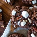 scattered rocky road cookies with nuts and marshmallows