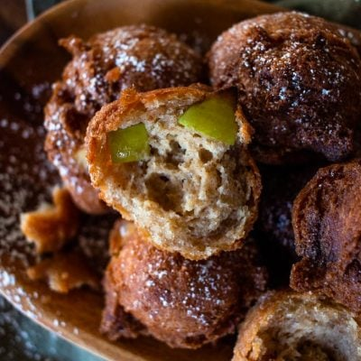homemade apple fritters in a bowl