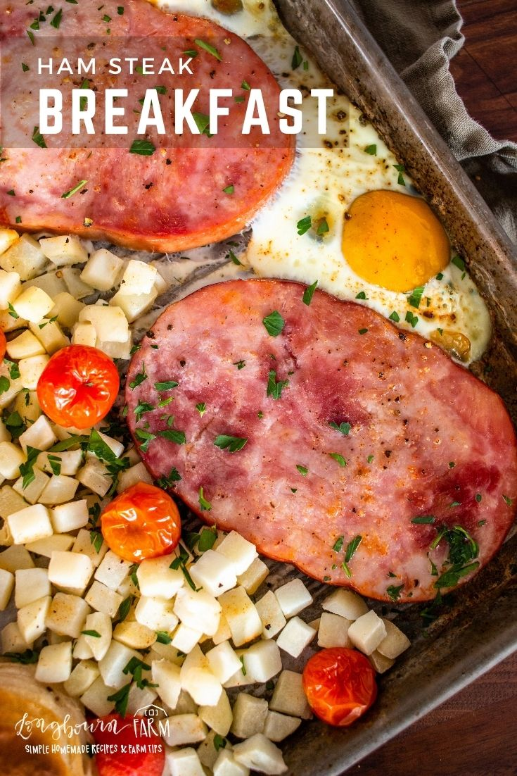 Ham steak breakfast on a sheet pan is easy to prepare, easy to customize, and is sure to be a total hit! Make it snap by using one sheet pan!